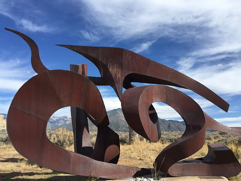 """Flight of Wind"" cor-ten steel, 23'h x 34'w x 13.5'd"